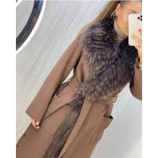"""Пальто прямое с натуральным мехом """"Люкс"""""""
